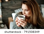 cheerful woman drinking morning ... | Shutterstock . vector #791508349