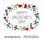 valentine day greeting card... | Shutterstock .eps vector #791512321