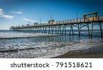 bogue inlet pier with blue... | Shutterstock . vector #791518621