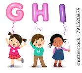 cartoon kids holding letter ghi ... | Shutterstock .eps vector #791520679