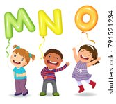 Cartoon Kids Holding Letter Mno ...