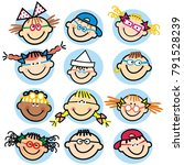 collection of children's faces  ... | Shutterstock .eps vector #791528239