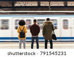 group of friends waiting the... | Shutterstock . vector #791545231