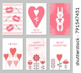 set of cute cards for valentine'... | Shutterstock .eps vector #791547451