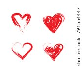 vector grunge hearts set ... | Shutterstock .eps vector #791554447