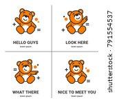 vector set of bear icon. flat... | Shutterstock .eps vector #791554537