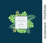 monstera tropical leaves... | Shutterstock .eps vector #791555281