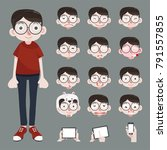 funny cartoon character.nerd ... | Shutterstock .eps vector #791557855
