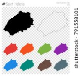 Saint Helena high detailed map. Island silhouette icon. Isolated Saint Helena black map outline. Vector illustration.