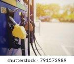 closeup yellow petrol pump... | Shutterstock . vector #791573989