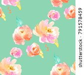 watercolor floral pattern. mint ... | Shutterstock . vector #791578459
