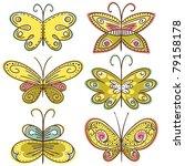 six hand draw butterflies ... | Shutterstock .eps vector #79158178