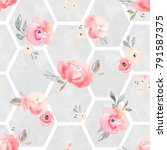 pink pastel floral pattern.... | Shutterstock . vector #791587375
