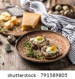 stuffed mushrooms with quail...   Shutterstock . vector #791589805