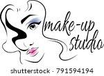 make up logo for beauty studio. ... | Shutterstock .eps vector #791594194