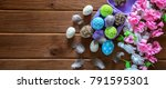 painted easter eggs with... | Shutterstock . vector #791595301