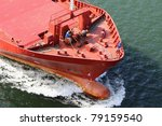 bow of a cargo vessel - stock photo