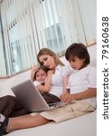 children and their mother using ... | Shutterstock . vector #79160638