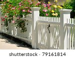 gate  fence and climbing roses. ... | Shutterstock . vector #79161814
