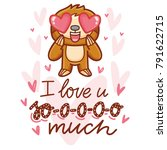 cute sloth character with... | Shutterstock .eps vector #791622715