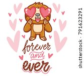 cute sloth character with... | Shutterstock .eps vector #791623291