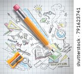 vector realistic pencil ... | Shutterstock .eps vector #791623741