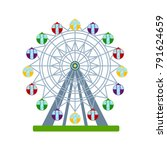 colorful ferris wheel on white... | Shutterstock .eps vector #791624659
