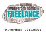 freelance or self employed word ... | Shutterstock .eps vector #791625091