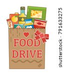 food drive canned food charity... | Shutterstock .eps vector #791633275