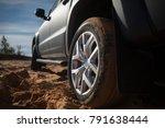 Pickup Rear Wheel At The Desert....