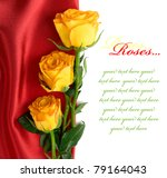 Yellow roses on the red satin with space for text - stock photo