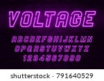 voltage neon light alphabet ... | Shutterstock .eps vector #791640529