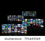 tele screens with a viewer. 3d... | Shutterstock . vector #791645569