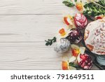 happy easter flat lay  stylish... | Shutterstock . vector #791649511
