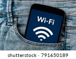 free wifi concept on smartphone ... | Shutterstock . vector #791650189