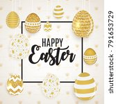 happy easter cute background... | Shutterstock .eps vector #791653729