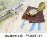 concept travel. vintage golden... | Shutterstock . vector #791655469