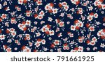 seamless floral pattern in... | Shutterstock .eps vector #791661925