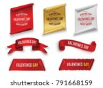 valentine's day. red scrolling.... | Shutterstock .eps vector #791668159