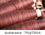 coils of brown woolen thread | Shutterstock . vector #791672014