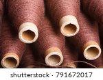 coils of brown woolen thread | Shutterstock . vector #791672017