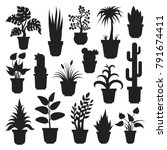 house plants silhouettes. plant ... | Shutterstock .eps vector #791674411