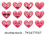 collection of funny heart... | Shutterstock .eps vector #791677537
