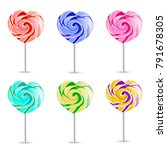 colorful heart lollipops on... | Shutterstock .eps vector #791678305