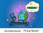 sad fat earth on the treadmill. ... | Shutterstock .eps vector #791678569
