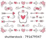 collection of hand drawn... | Shutterstock .eps vector #791679547