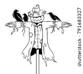 Scarecrow Coloring Vector...