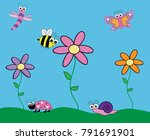 cute insect critters | Shutterstock .eps vector #791691901