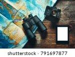 vintage film camera  map ...   Shutterstock . vector #791697877