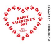 dog heart of paw valentine's... | Shutterstock .eps vector #791699569